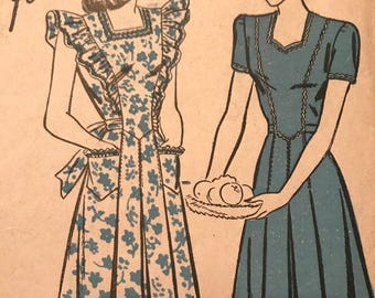RARE Vintage 1940's Dress Pattern---Advance 4139---Size 16 Bust 34  UNUSED