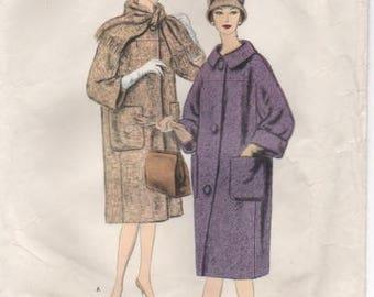"""1960's Vogue Paris Original Coat with Scarf - Patou - Bust 32"""" - No. 1466"""