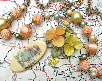 romantic flower garden girl necklace assemblage pansy holly hobby style summer floral cottage chic homespun