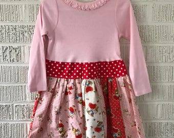 Vintage kitten stripwork Valentine little girl dress long sleeve 3t ready to ship