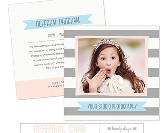 Referral Program Card Photoshop Template for Photographers INSTANT DOWNLOAD