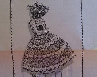 Crocheted Potholder PDF Pattern, Sunbonnet Girl Potholder Pattern, Design 7492, Crochet, Potholder