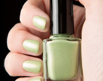 Possession nail lacquer - Cream spring green with silver flecks - The Columbia Collection - .45oz/13.2mL
