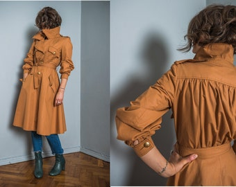 Vintage trench coat for spring | orange single breasted | princess type