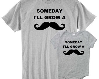 Mustache Moustache New Dad T Shirt and Matching Infant Bodysuit Set First Father's Day Funny Baby Shower Gift Idea