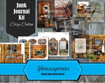 Travel Junk Journal Kit, Junk Journal Supply, Cabin Junk Journal Kit, DIY Junk Journal Kit, Cabin Travel Junk Journal Kit, Instant Download