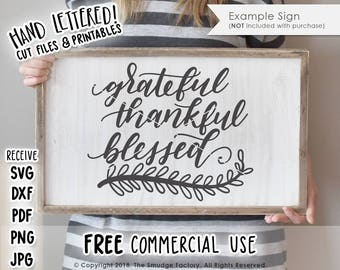 Blessed SVG Cut File, Grateful Thankful Blessed SVG, Hand Lettered Cut File, Silhouette, Cricut, Thanksgiving SVG, Gather Cut File, Fall