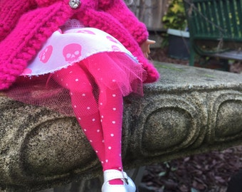 Pink blythe tights, pure neemo doll stockings, doll accessory, polka dot tights, hot pink doll socks, Azone stockings, blythe doll gift