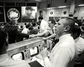 Gene Kranz and Others in Mission Control Celebrate the Return of Apollo 13 - 5X7, 8X10 or 11X14 NASA Photo (AA-247)
