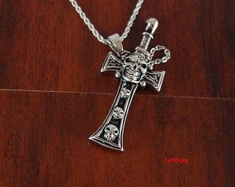 Stainless steel skull cross necklace, sword cross necklace, cross necklace, skull sword and sheath, steel cross, sheath cross, NE502