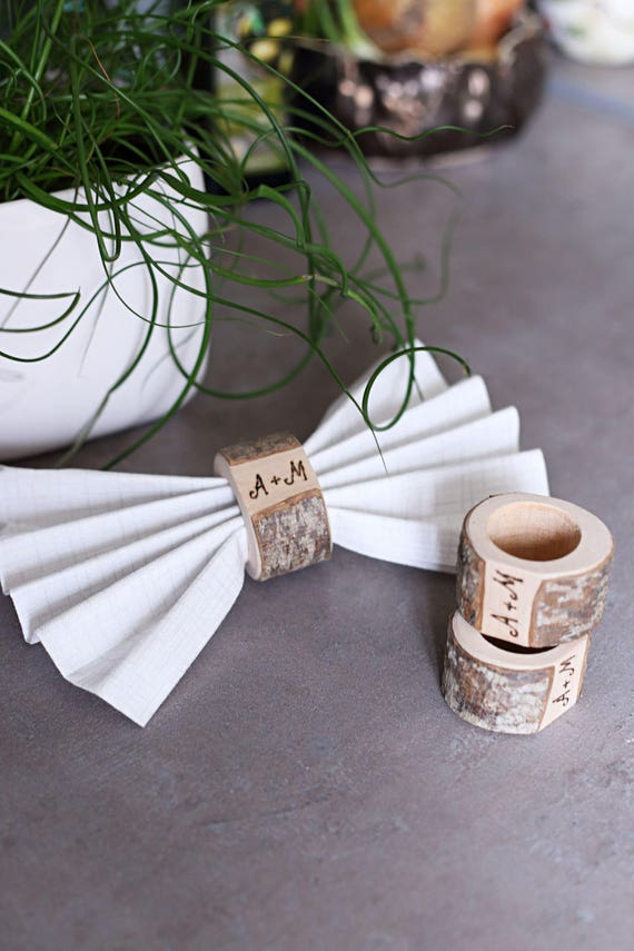 Personalized wedding napkin rings Rustic napkin rings
