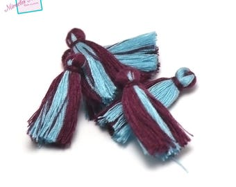10 cotton thread tassel double color 30 mm, Garnet and blue