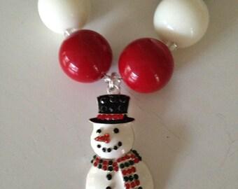 Smiling snowman child chunky bubble gum necklace