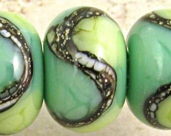 Green Handmade Lampwork Glass Beads, Lampwork Glass, Glass Beads, Bead Set, Mossy Green, 6 Glossy 11x7mm Little Sirona