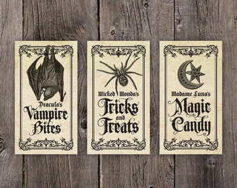 PRINTABLE Halloween Tags, Halloween Decorations, Printable Halloween Treat Bag Labels, Vintage Bat Spider Candy Tags Printable Gift Tag