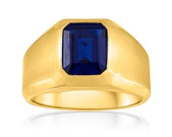 Men's 10K Gold Signet Ring, Sapphire