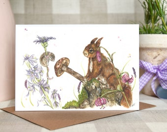 Red squirrel  and mouse 'Forest friends' greeting card