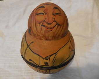 """Vintage 1970s Roly Poly Tin Bristol Ware """"Cowboy"""" Replica Division of Chein Industries Retro Storage Collectible Mayo's Cut Plug 1979"""