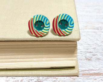 Retro Mod Red Yellow Teal Carved Swirls Button Stud Earrings with Surgical Steel Posts (SE14)