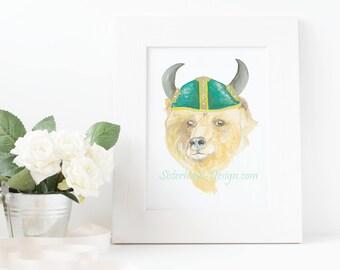 bear viking watercolour art print