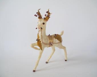"Vintage White and Gold Reindeer, 12"" tall Hard Plastic Glitter Deer, Ornate Christmas Deer w/Mercury Glass, Foil, Velvet...As-Is, Has Damage"
