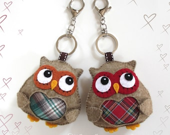 OWL felt keyrings and melton fabric kawaii fabric with heart of Scottish woodland OWL OWL felt keyrings, animals,