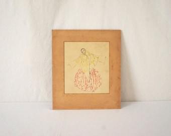 Vintage Framed Art Print of a Beautiful Woman Dancing