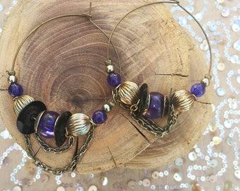 Vintage Boho Chic Beaded Hoop Earrings