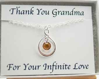 Grandma Necklace November Birthstone Necklace Gift Grandmother Birthday Gift for Mom Mothers Day Present Infinity Jewelry