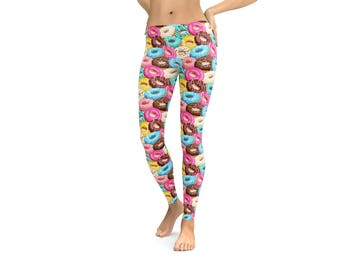 Leggings Donut Doughnut Leggings or Capris Woman's Leggings Printed Leggings Yoga Workout Exercise Pants Crazy Unique Funny Leggings Pants