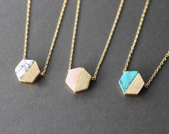 Hexagon necklace // Gemstone necklace // turquoise hexagon necklace// Marble Hexagon necklace // Pink hexagon necklace