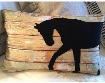 Horse Silhouette, Barn Door, Felt Horse Decorator Pillow 12 x 18