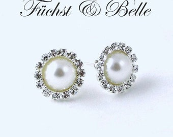 White Pearl with rhinestone stud Earrings for brides, wedding earrings