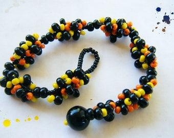 Woven bracelet Brazilian type multicolored seed beads