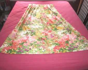 Vintage 1970s Lot of 3 Panels Pleated Cotton Colorful Floral Drapes