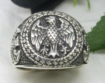 German Eagle Round Signet Bundesadler Sterling Silver 925 Ring