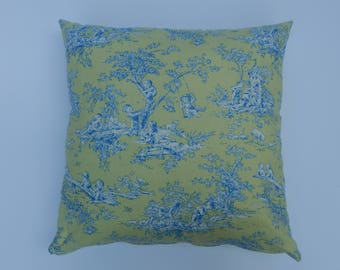 Soft green and blue toile print