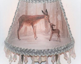 NEW Woodland Deer Winter NIGHT LIGHT Snow Forest Animals Shade Lighting with Icicle Clear Beaded Fringe