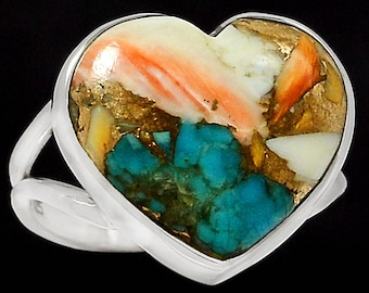 Heart - Spiny Oyster & Arizona Turquoise  Silver  s.9