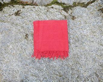 Turkish Towel | Peshtemal | Cotton Beach Towel | Turkish Bath Towel | Red Travel Towel | Hammam Towel