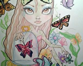 Girl With her Butterflies Big Eye  Fantasy Art Print