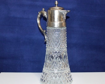Vintage Glass and Silver Plated Claret Wine Jug