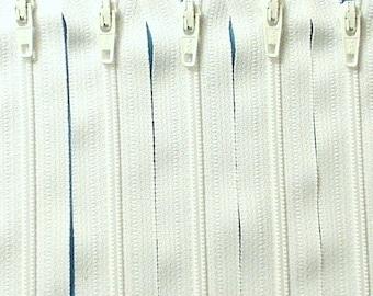 Ten 18 Inch White YKK Zippers Color 501