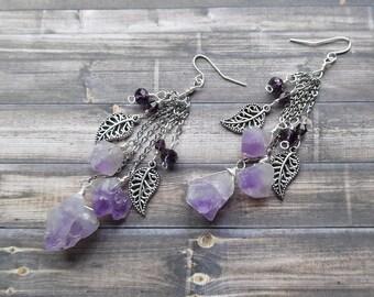 Amethyst Earrings, Amethyst Jewelry, Crystal Earrings, Gemstone Dangle Drop Earrings, February Birthstone, Bohemain Earrings, reiki jewelry