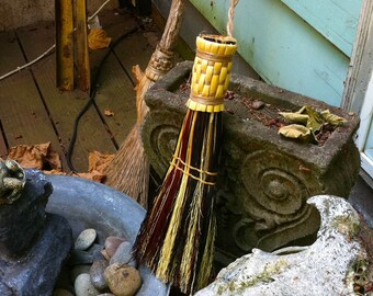 Whisk Broom in your choice of Natural, Black, Rust or Mixed Broomcorn - Hand Broom - Table Brush - Sweep
