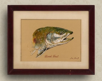 PRINT-Brook trout fish fly fishing river print watercolor painting art wall brook trout portrait   - Art Print by Juan Bosco