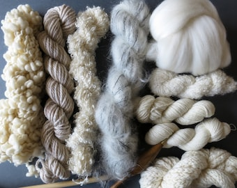 30% OFF Second Edition - Natural Yarn pack for knitting, crochet, weaving or felting. Wool, mohair, merino.