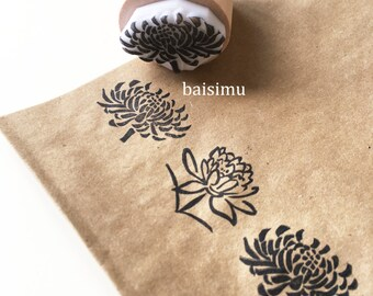 Floral rubber stamp/ chrysanthemum/ lotus/ wood/ scrapbooking tools/ floral decorations/ floral stamp/ flower stamp/ floral prints patterns