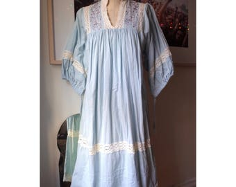 1970s Embroidered Peasant Dress Nightgown Bell Sleeves