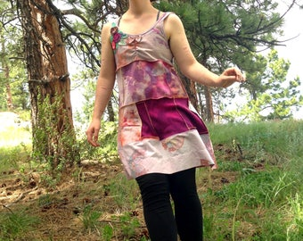 Upcycled Dress, Medium, Ice Dyed, Tie Dye Dress, Pink Dyed, Butterfly Dress, Fabric Flower, Upcycled Clothing, Repurposed, Tank Dress, Pink
